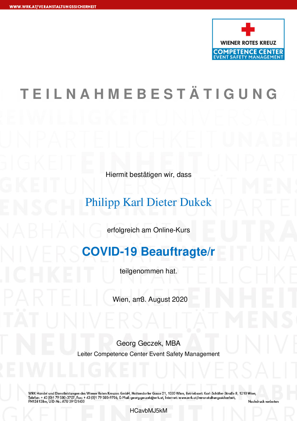 COVID 19 Beauftragter